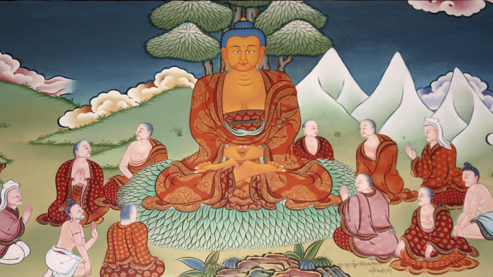 Buddha mit Schuelern